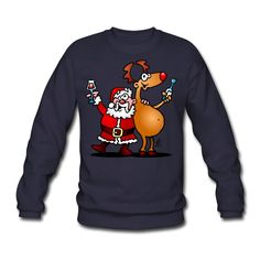 #Weihnachten #Weihnachtsmann #Pullover Weihnachtsmann und seine Rentiere Männer Pullover #Spreadshirt #Cardvibes #Tekenaartje #SOLD