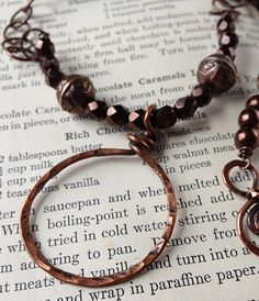 Origin - Copper and Brown Czech Glass Necklace, seen in Bead Trends magazine - by SilverRoseDesigns/Holly Westfall