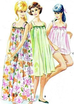 Nightgown Pattern McCalls 5693 Womens Long or Short Square Neck Babydoll Nightgown and Panties Vintage Sewing Pattern Bust 31 - 32 Mccalls Patterns, Vintage Sewing Patterns, Clothing Patterns, Dress Patterns, Sewing Clothes, Diy Clothes, 1960s Fashion, Vintage Fashion, Vintage Dresses