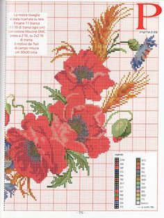 Cross Stitch Embroidery, Cross Stitch Patterns, Cross Stitches, Cross Stitch Flowers, Poppies, Needlework, Projects To Try, Crochet, Crafts
