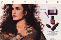 Andi 1980s Makeup, Vintage Makeup Ads, Retro Makeup, Vintage Beauty, Vintage Ads, Vintage Advertisements, History Of Cosmetics, 80s Fashion, Fashion Beauty