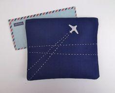 Blaue Zip Handtasche/Reisetasche mit Silber Flugzeug