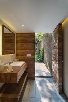 Wood Doors in Contemporary Bathroom
