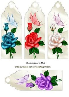 ROSES WITH BUTTERFLIES ON SATIN BOOKMARKS on Craftsuprint designed by Nick Bowley - ROSES WITH BUTTERFLIES ON SATIN BOOKMARKS, Makes four lovely cards. lots of other floral designs to see - Now available for download!
