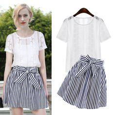 White Round Neck Short Sleeve Hollow Blouse With Blue Striped Bow Skirt Two Pieces