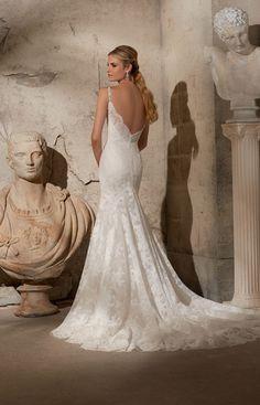 Mooie kanten fishtale jurk met een prachtige lage rug.