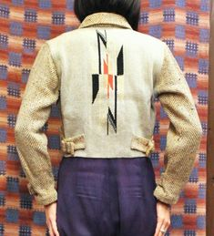 VINTAGE 40'S ~ GANSCRAFT CHIMAYO SHORT JACKET (W.BLE / BEIGE / BLK / RED / WHT)