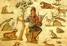 Orpheus surrounded by an audience of wild animals. Floor mosaic from an ancient Roman villa near Palermo, Sicily; now in the Museo Archeologico Regionale di Palermo. Ancient Greek Religion, Ancient Rome, Ancient Greece, Ancient Art, Ancient History, Rome Antique, Art Antique, Classical Mythology, Greek Mythology