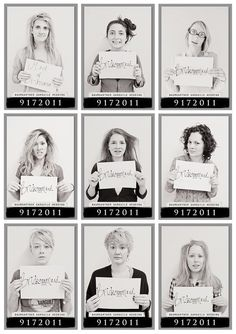 Bridesmaid mugshots the morning after the bachelorette party!