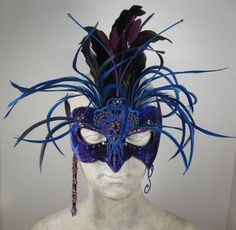 Blue and Black Masquerade Mask by leopardsleap on Etsy