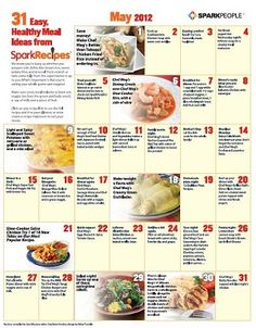 What's for Dinner? Printable Monthly Menu for May (can use for any month with an adjustment for number of days)