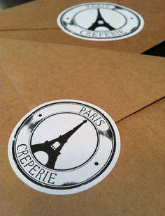 The Paris Creperie Original Sticker Design w Crepes And Waffles, Pancakes, Brand Design, Logo Design, W Logos, Red Balloon, Pastry Shop, Paper Envelopes, Kraft Paper