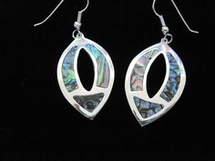 Hand Made Taxco, Mexico Silver Plated Oval Shaped Abalone Earrings