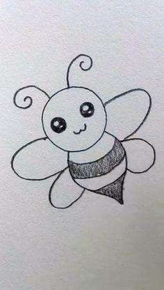 Easy Butterfly Drawing, Easy Flower Drawings, Easy Cartoon Drawings, Easy Drawings For Kids, Art Drawings Sketches Simple, Doodle Drawings, Disney Drawings, Easy Pencil Drawings, Animal Drawings