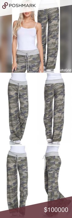 Soft stretchy tie waist army- Heather gray pants FRENCH TERRY LOUNGE PANTS COLOR: OLIVE MULTI Pants