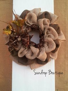 Fall Burlap Wreath by Sundrop Boutique