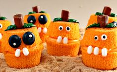 These goofy goons are made from orange-tinted icing sandwiched between two cupcake bottoms. They have Tootsie Roll stems and piped-on frosting features.    Get the recipe at The Barefoot Baker.