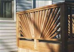 Would be cool as a sun! Loft Railing, Front Porch Railings, Deck Railing Design, Deck Railings, Railing Ideas, Fence Ideas, Backyard Ideas, Porch Privacy, Privacy Fences