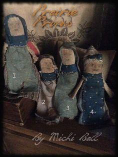 Scrap dolls...antique fabrics. By Michi Ball
