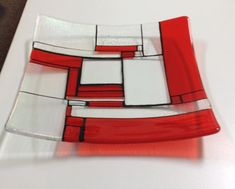 Mondrian modern art glass centrepiece 11x11 inch called Mondrian Scarlet a fun bright gift fused glass wedding present for modern couples on Etsy, $189.00