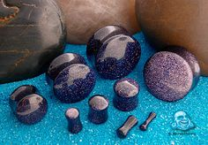 Blue goldstone plug - So pretty and shiny in real life. Even better than the pic