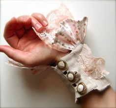 Pink and Putty Textile Wrist Cuff with Lace and Vintage Buttons