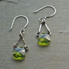 Dangle Crystal Earrings - Green Swarovski Crystal Sterling Silver Dangle Earrings