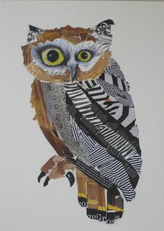 Emma Gale - Wise Old Owl 2011 collage pencil on paper Art Du Collage, Collage Drawing, Club D'art, Art Club, Owl Art, Bird Art, Classe D'art, 5th Grade Art, Elementary Art