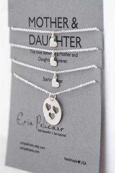 * * * A set of 4 necklaces for the love between MOTHERS & DAUGHTERS * * *    - - - {{ ITEM DETAILS }} - - -    One Mother 18mm pendant, with heart