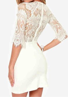 Love Lace! White Lace Half Sleeve Wrap Chiffon Mini Dress #White #Lace #Mini #dress #Summer #Party_Dress #Fashion