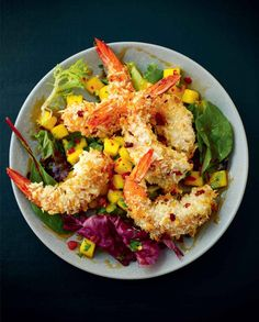 Baked coconut shrimp salad with honey and spicy mango and coriander salsa | Lorraine Pascale