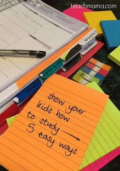 The start of the school year is here and kids need to learn how to study before all the studying for exams will be going on! Show your kids how to study these five easy ways. I LOVE these ideas that work well with @postitproducts. It's a MUST-see for all parents & teachers! #teachmama #teachinghelps #education #studyingideas #teachingtips #teacherresource #studyhelps #study #teachingtips #exams #endofschoolyear