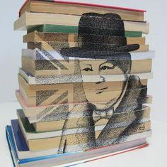 Pointillism of Sir Winston Churchill on book structure in ink. Welcome Design, Desktop Publishing, Pointillism, Winston Churchill, Art Studios, Art Direction, Photoshop, Ink, Fine Art