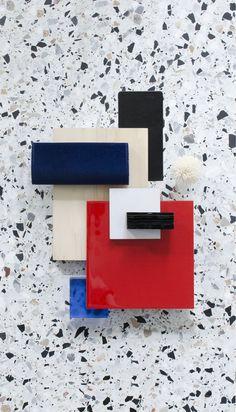 Material Mood Of The Week ~ Bold Red & Terrazzo #stone #terrazzo #composition #layering #moodboard #interiordesign #colors #red #blue #black #architecture #design #studiodavidthulstrup