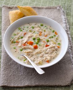 Chicken Pot Pie Soup by heatovento350: Suprisingly low fat and easy to make. #Soup #Chicken_Pot_Pie