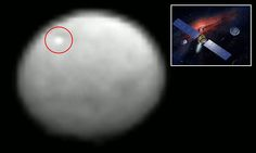 One theory is that the mark (ringed in red) is a pool of ice at the bottom of a crater that is clear enough to reflect sunlight.  Houston-based Nasa, however, is yet to provide an explanation.