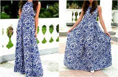 Шифоновое платье в пол с синим ярким узором. Отрезное по талии, облегающий лиф и юбка в складку. На потайной молнии. Шифон плотный,  модель без подклада.  В наличии 42 р., остальные под заказ, можно сделать на любой рост.  5400
