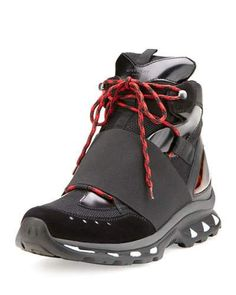 N47YY Givenchy Hiking Boot Trainer Sneaker, Black