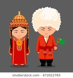 Turkmen in national dress with a flag. Man and woman in traditional costume. Travel to Turkmenistan. Caleb And Sophia, Birthday Goals, Costumes Around The World, World Thinking Day, Anastasia, Character Costumes, Flat Illustration, World Cultures, People Around The World