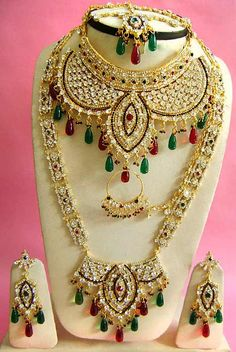 #Red #Green and White Stone Studded #Necklace Set @ $128.84 | Shop & Indian Wedding Costume Jewellery Sets : Costume Jewellery ...