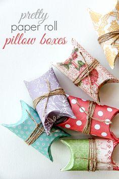 DIY: Pretty Paper Roll Pillow Boxes
