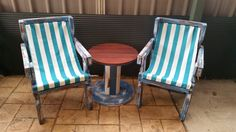 Beach theme reclaimed chairs + one used cable-drum makes this little outdoor set perfect for the not so big outdoor areas.