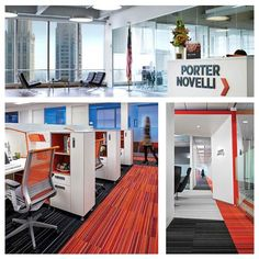 The Porter Novelli offices in London and Atlanta, Georgia were designed by architectural firm tvsdesign. The unified branding of this agency combines the orange color of the logo to reflect its identity. Each office has open collaborative rooms, comfortable reception areas, and ergonomic working spaces. Click here to read more.