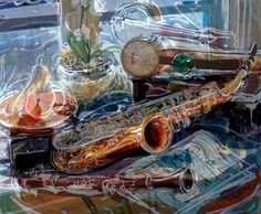 mixed media still life art pieces | Still Life with Saxaphone  Really like the white line work.