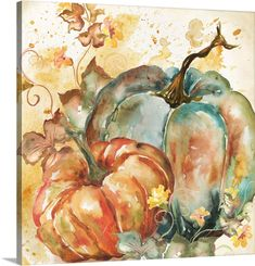 Watercolor Flowers, Watercolor Paintings, Painting & Drawing, Watercolor Projects, Watercolours, Autumn Painting, Autumn Art, Pumpkin Art, Pumpkin Drawing