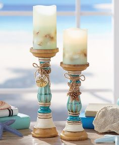 Accent your coastal decor with the warm glow of candlelight from these Seaside Candleholders or Candles. They're perfect on any tabletop, shelf, or mantel. Made of cold cast ceramic Coastal Colors, Coastal Style, Coastal Decor, Seaside Cottage Decor, Tropical Decor, Coastal Living, Candle Set, Candle Holders, Ltd Commodities