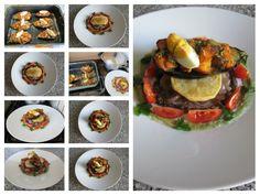 Le mosaique   photografic  de.  Aubergine  au  la  rustique   et   legumes , tomate   oeuf  et  sauce  de  chou fleur   Gino D'Aquino