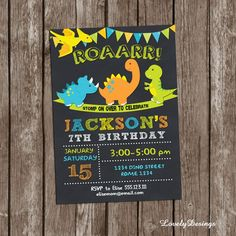 Dinosaurs Birthday Invitation Dinosaurs by LovelyDesings on Etsy Dinosaur Birthday Invitations, Dinosaur Birthday Party, Printable Birthday Invitations, Personalized Invitations, Boy Birthday Parties, Party Printables, 2nd Birthday, Birthday Ideas, Shopkins Birthday Party
