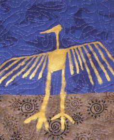 Purple Blue and Gold Southwest Petroglyphs Art by SouthwestQuilts