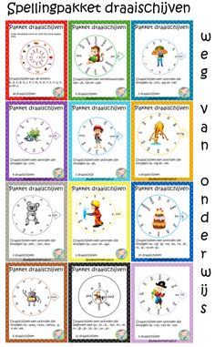 Spellingpakket draaischijven – Weg van onderwijs School Lessons, School Hacks, School Projects, Dutch Language, Language Lessons, Kids Writing, Creative Teaching, Summer School, Scandal Abc